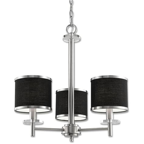 Home Depot Chandelier Shades Beldi Medford Collection 3 Light Satin Nickel Chandelier With Black Fabric Shade 23070 H3 The