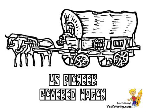 covered wagon coloring page print coloring pages