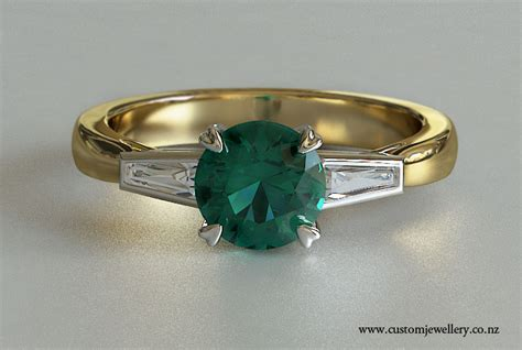 yellow gold vintage style emerald and baguette side