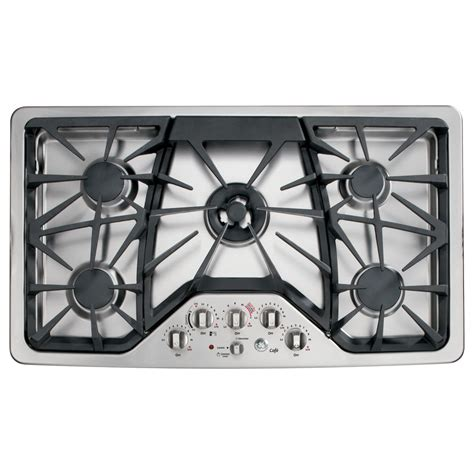 Ge 36 Inch Gas Cooktop shop ge cafe 5 burner gas cooktop stainless common 36 in actual 36 in at lowes
