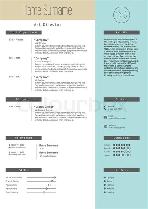 Creative Executive Sle Resume by Vector Creative Resume Template Minimalistic Blue And Beige Style Cv Light Infographic