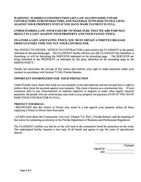 Notice To Owner Free Forms And Faqs Commercial Lien Template