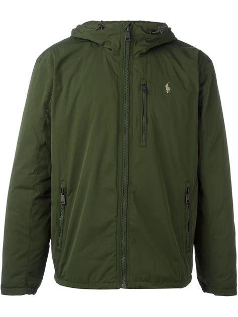 hooded embroidery jacket polo ralph logo embroidered hooded jacket in green