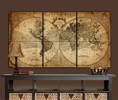 Canvas Decor Vintage World Map globe map world map canvas vintage map set large wall