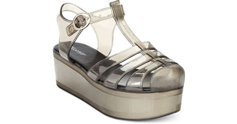 Minised Jelly Shoes Grey wanted jellypop flatform jelly sandals in gray lyst