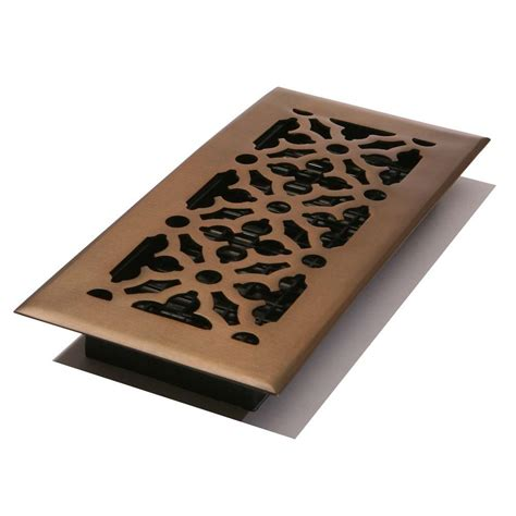 decor grates 4 in x 10 in steel gothic design floor register rubbed bronze agh410 rb the