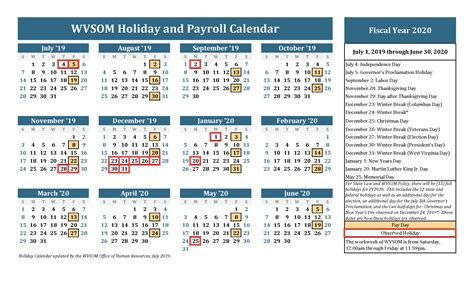 human resources holiday calendar west virginia school  osteopathic medicine