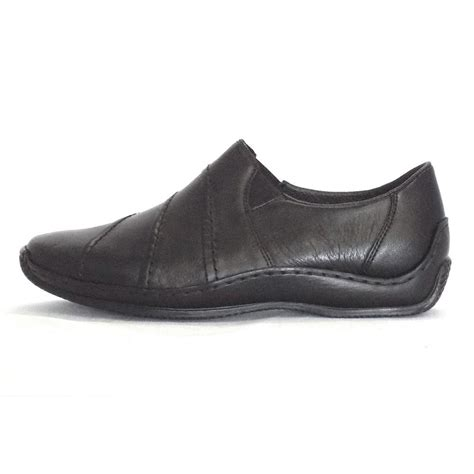black leather slip on shoes rieker slip on shoe journey l1761 00 in black