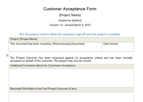 project acceptance form template customer acceptance form for project management