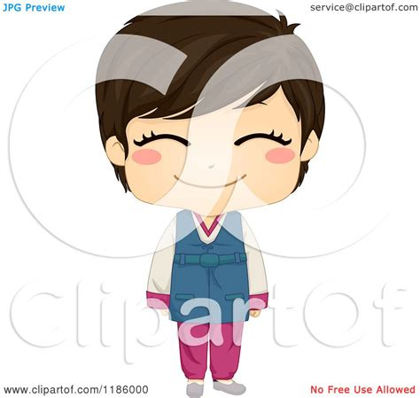cartoon of a cute smiling korean boy wearing a traditional