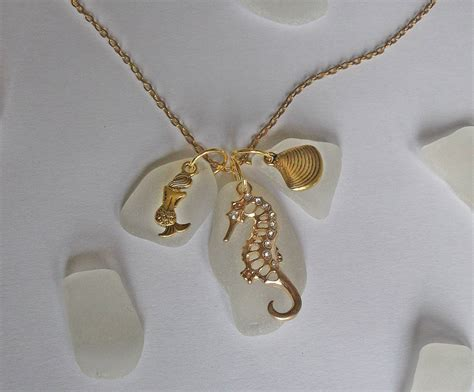 sea glass jewelry how to make sea glass cluster necklace with gold sea charms sea