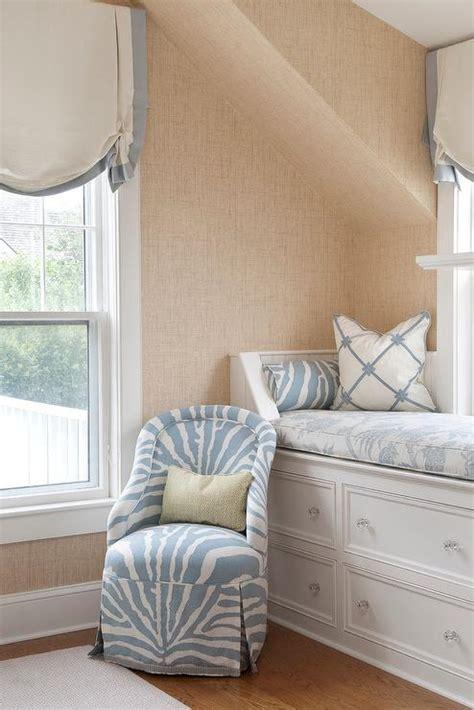 bedroom fabric ideas attic window seat transitional bedroom