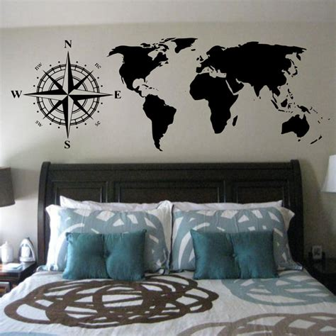 sexy home decor cacar hot wall stickers compasses world map wall decals
