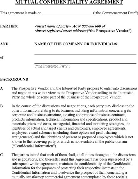 business confidentiality agreement template business confidentiality agreement templates
