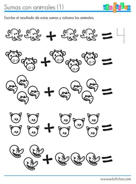 imagenes de matematicas para preescolar ficha para aprender a sumar con dibujos de animales http