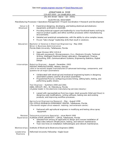 Electrical Engineer Resume Sle Doc Sle Electrical Engineer Resume Engineer Electrical Engineering