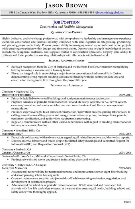Construction Executive Resume Samples by Construction And Facilities Manager Resume Sample