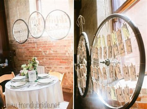 unique bike tire seating chart wedding idea   Wedding