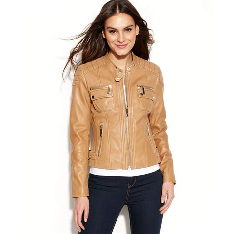 moto jacket lyst michael kors quilted detail leather motorcycle