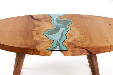 japanese esszimmertisch table topography wood furniture embedded with glass