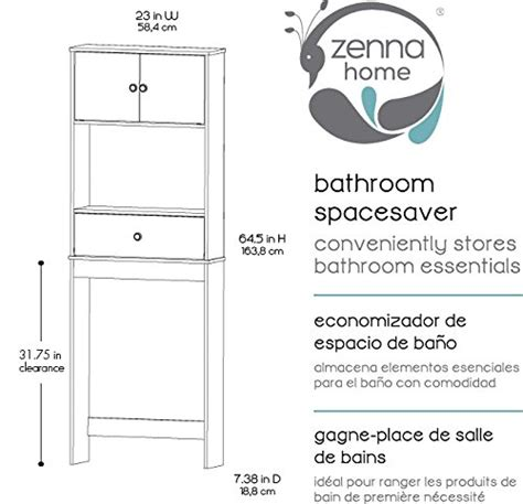 zenna home 9401w drop door bathroom spacesaver white new