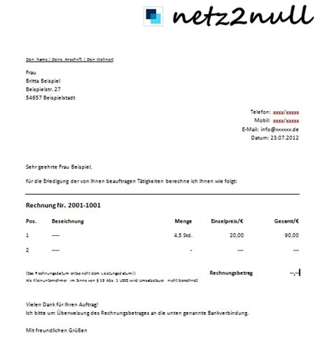 Musterrechnung Für Kleingewerbe Ohne Umsatzsteuer Kleingewerbe Als Netz2null De