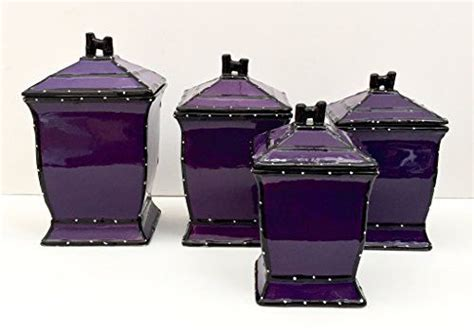 purple canister set kitchen tuscany purple ruffle hand painted ceramic 4 piece