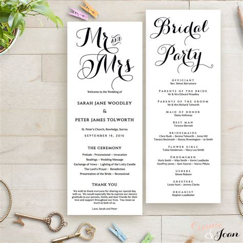 free order of service wedding template printable wedding program order of service template