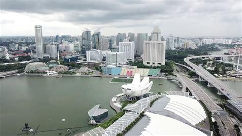 marina bay sands merlion park singapore drone video