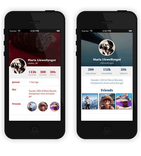 25 app profile page designs psd vector eps jpg freecreatives