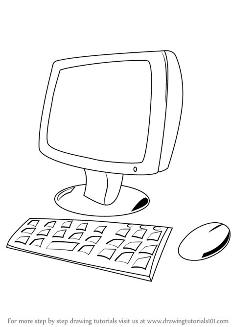 Drawing Computer by Learn How To Draw A Computer For Computers Step By