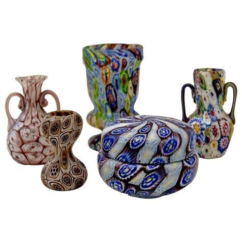 millefiori vase set of five murano vintage glass vases millefiori