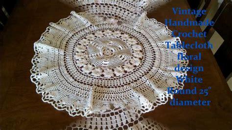Handmade Crochet Designs - vintage handmade crochet tablecloth floral design white