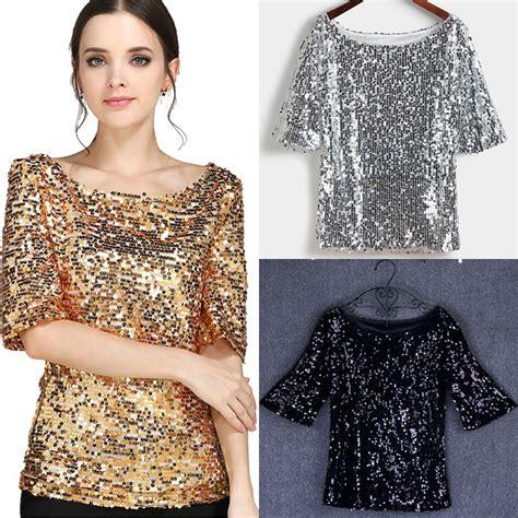 Glitter Sleeve Top new sequin womens sparkle glitter tank 3 4 sleeve