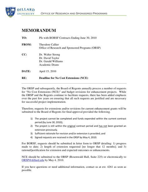 Request Letter Sle For Extension Of Deadline Du Deadline For No Cost Extensions 4 6 2010