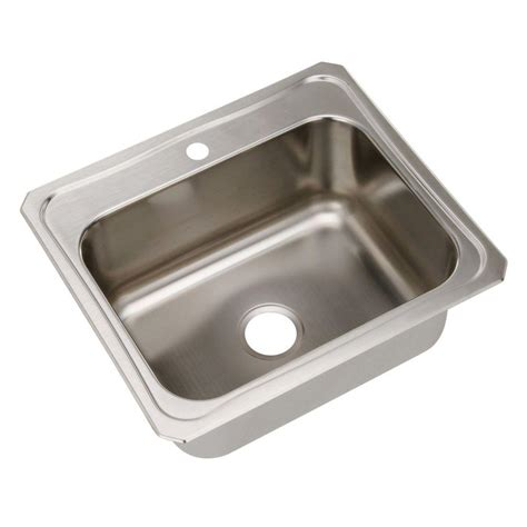 Kitchen Sink At Home Depot Elkay Drop In Stainless Steel 25 In 1 Single Basin Kitchen Sink Dcr2522101 The