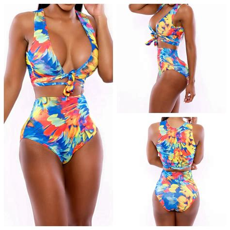 Printed Two Pcs 2018 2014 high waist printed floral bandage one
