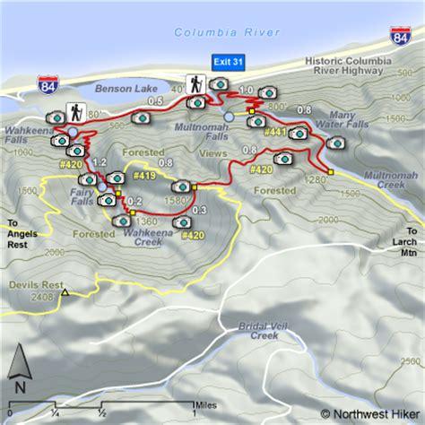 multnomah falls trail map multnomah falls loop hike wahkeena falls loop hike wahkeena