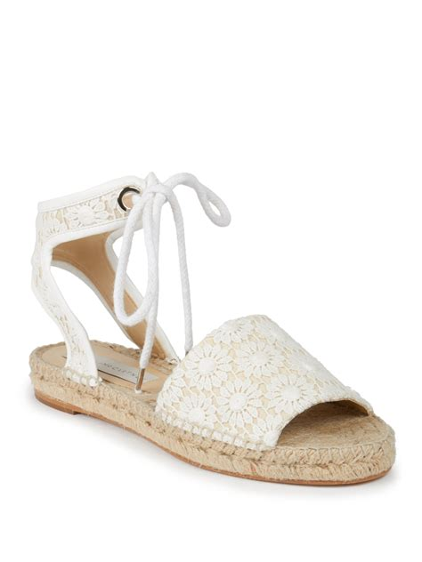espadrille flat shoes lyst stella mccartney flat lace espadrille sandals in white