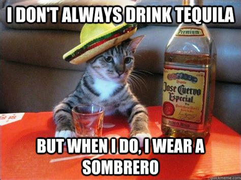 Sombrero Meme - i don t always drink tequila but when i do i wear a
