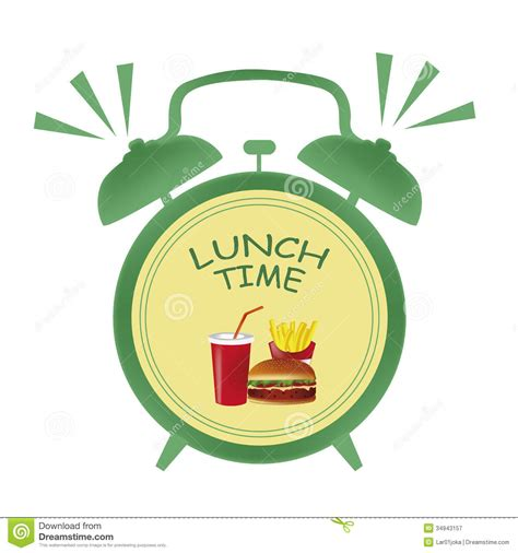 what time is lunch lunch time clock stock illustration illustration of