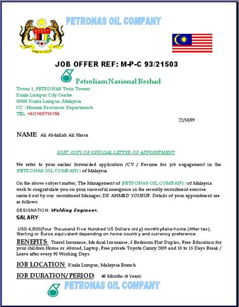 Offer Letter Malaysia Sle Petronas Name Being Used On Offer Scam It S All In The Planning