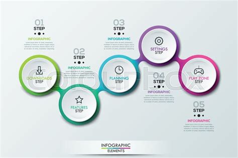 home design app user guide infographic design template with 5 connected circular