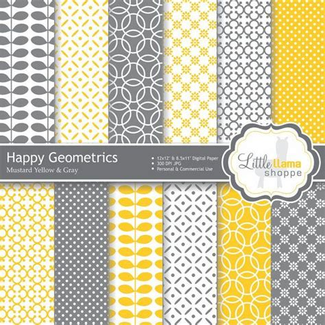 yellow patterned craft paper digital paper pack in mustard yellow and gray geometric