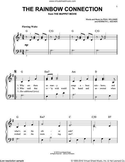 Rainbow connection piano sheet music free pdf