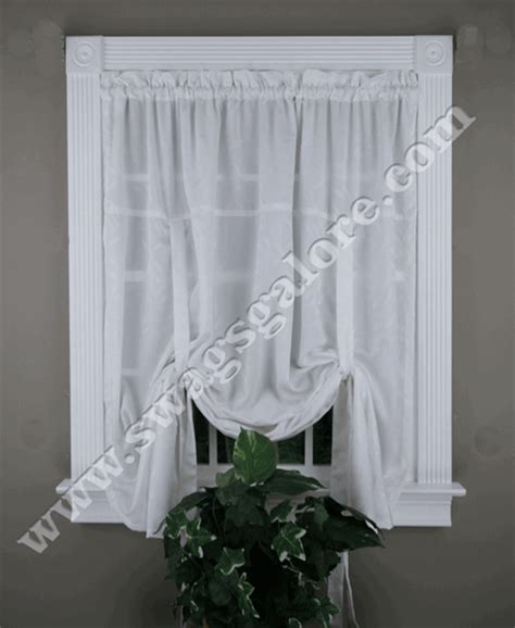 white tie up curtains whitfield jacquard tie up shade white lorraine kitchen
