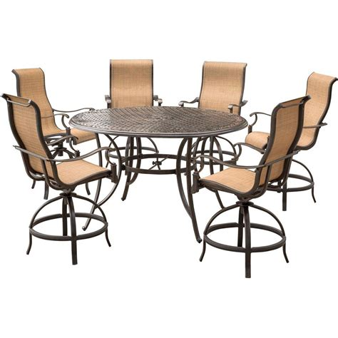 Agio Patio Dining Set Agio Somerset 7 Aluminum Outdoor Bar Height Dining Set With Swivels And Cast Top