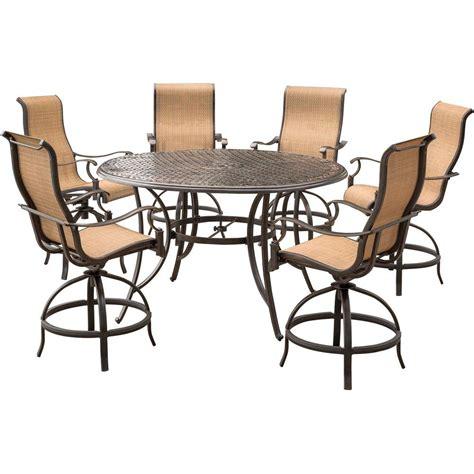 patio furniture aluminum somerset 7pc dining set agio somerset 7 piece aluminum round outdoor bar height