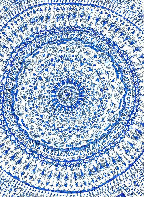 blue pattern tapestry china pattern on tumblr