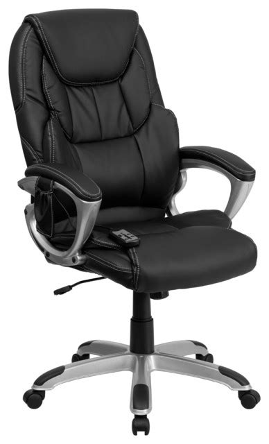 Shop Houzz Flash Furniture High Back Massaging Leather High Back Massaging Black Leather Executive Office Chair With Silver Base
